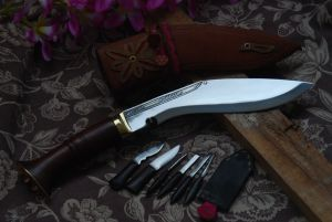 8 Inch Ganjawal New Leather Wooden Handle Kukri