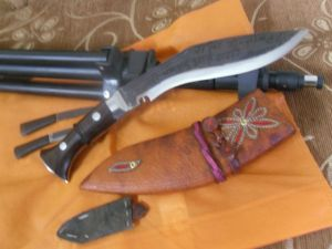 8 Inch Panawal Black New Leather Wooden Handle Kukri